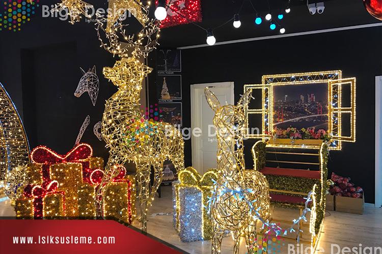 LEd Işıklı Geyik Noel Baba Yılbaşı Avm Süslemleri -